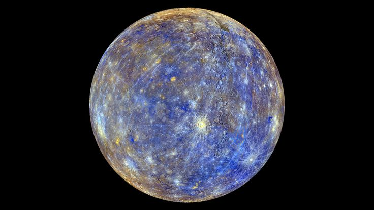 An image of the planet Mercury produced by NASA'S MErcury Surface, Space ENvironment, GEochemistry, and Ranging, or MESSENGER probe is seen in an undated picture released April 16, 2015. These colors are not what Mercury would look like to the human eye, but rather the colors enhance the chemical, mineralogical, and physical differences between the rocks that make up Mercury's surface, according to NASA. The MESSENGER spacecraft that made surprising discoveries of ice and other materials on…