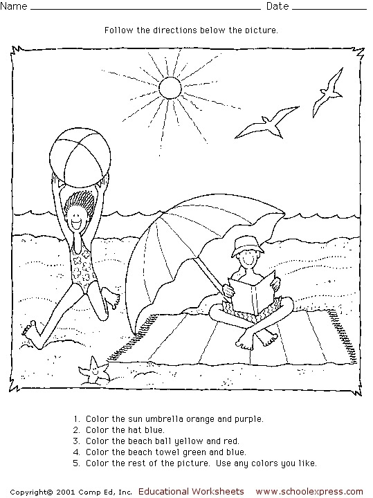 Following directions coloring pages ~ Following Directions Coloring Worksheets Coloring Pages