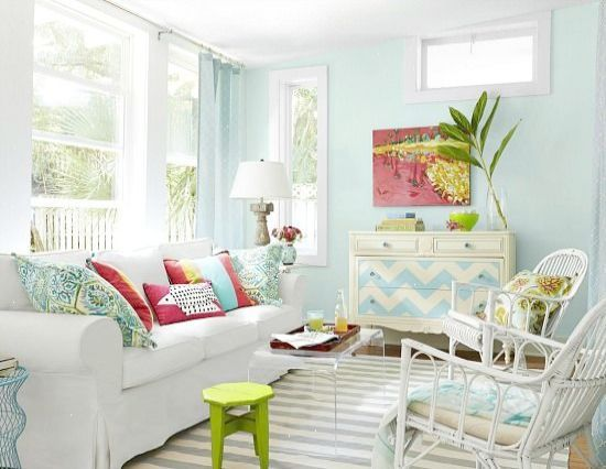 Small Beach Cottage Living Room In Blue Pink And Green Soft Tropical Color Scheme Beach Living Room Cottage Living Rooms Beach Cottage Decor