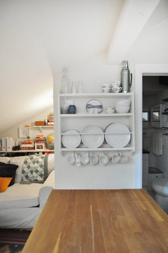 Dish racks are a necessity in most kitchens. But if you don't have much counter space to devote to one, try a wall-mounted dish rack, or one that folds up when not in use.