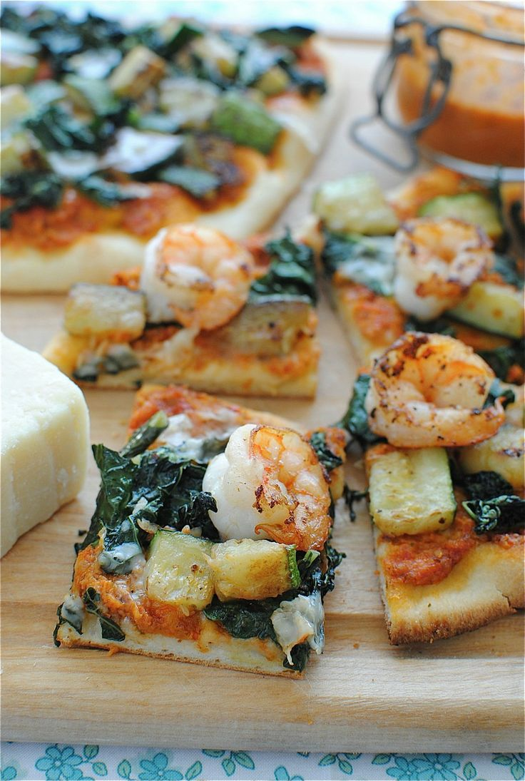 Homemade Pesto Pizza with Shrimp, Zucchini, Parmesan, and Kale