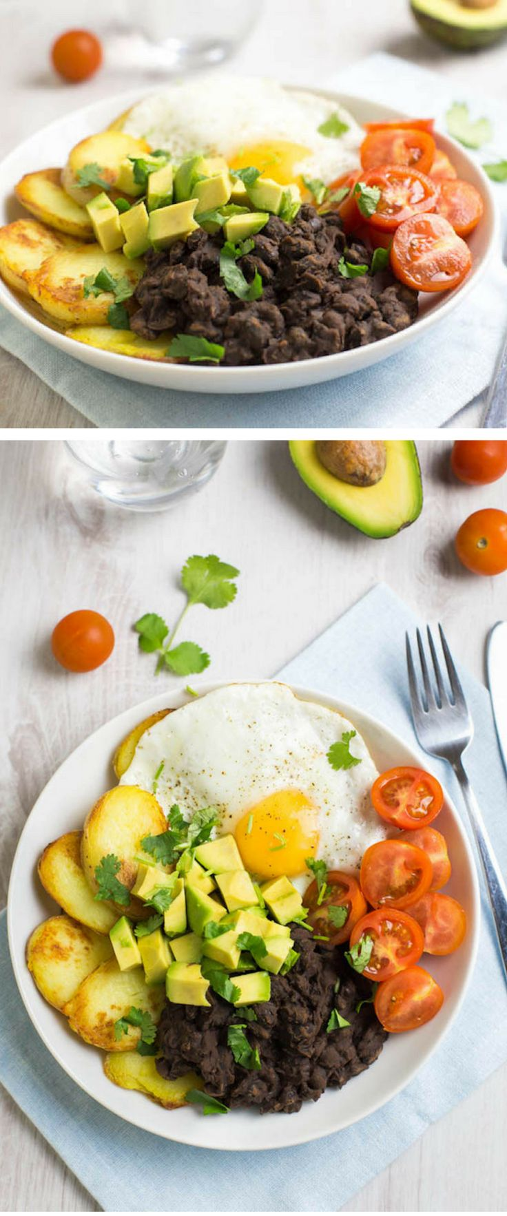 Chipotle Black Bean Breakfast Bowl // Bowls aren't just for dinner! Potatoes, smoky black beans, runny eggs will become your new breakfast go-to. Top with avocado, tomatoes and cilantro and you're all set!