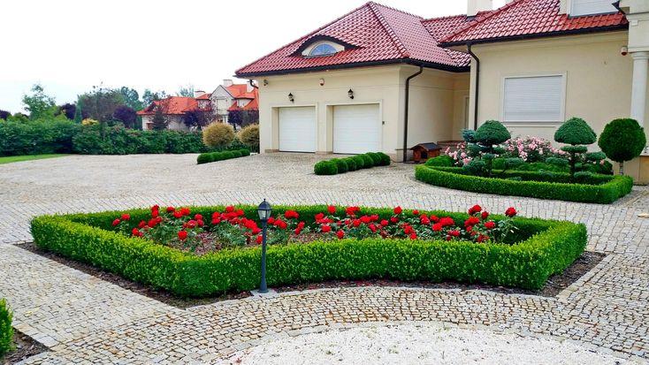 Rabata różana przy domu jednorodzinnym.Ogrody Kielce.
