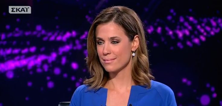 Eva Antonopoulou is a master of news. Plus she's gorgeous. How lovely to see her sporting our shiny star earring piece for her news broadcast at SKAI chanel.