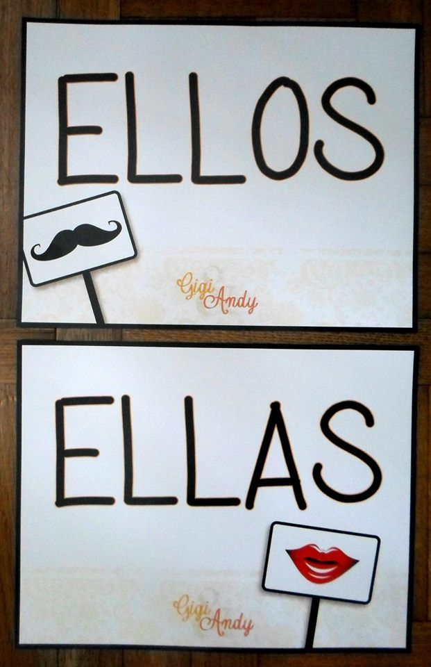 Carteles para la puerta del baño - EllasyEllos /Dateunaidea https://www.facebook.com/pages/Dateunaidea/267749186695587?ref=bookmarks