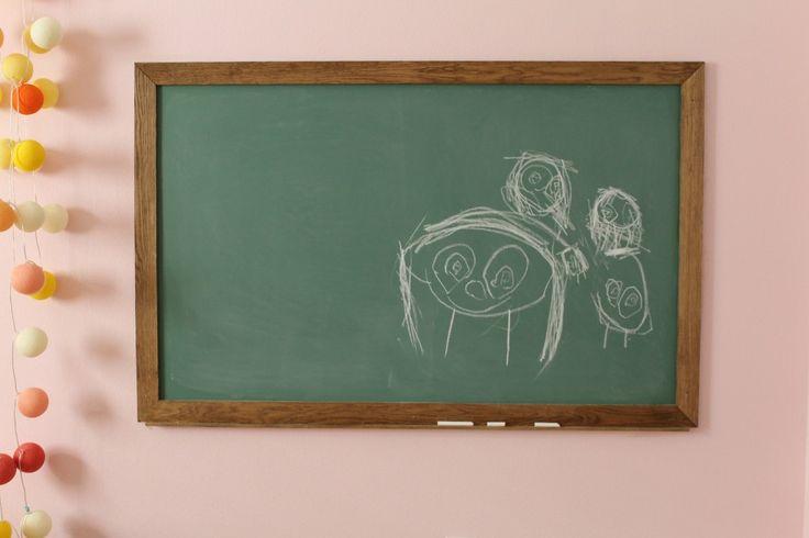 DIY chalkboard paint.  Cute idea for kid's room.  DIY Vintage Green Chalkboard (Paint and all!) | Chris Loves Julia