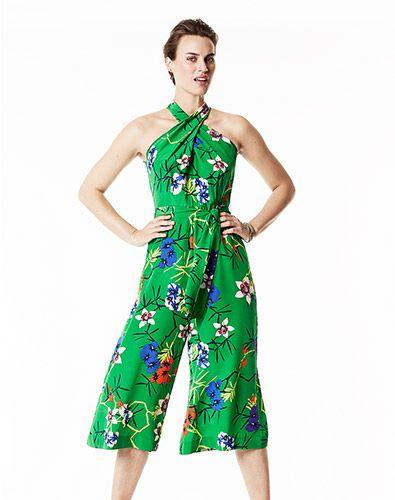 806355447c07 Green Floral Print Halterneck Cropped Jumpsuit
