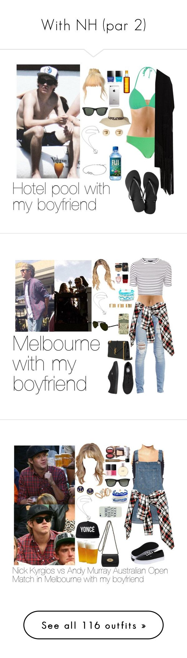 """""""With NH (par 2)"""" by myllenna-malik ❤ liked on Polyvore featuring NiallHoran, River Island, Chicnova Fashion, Havaianas, Ray-Ban, Butter London, Clarins, Forever 21, Karen Walker and Pandora"""