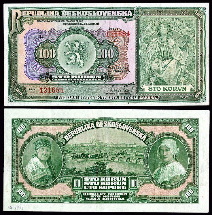 Mucha-designed artwork on a 1920 Republic of Czechoslovakia 100 korun note.