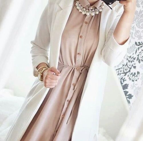 Hijaby Fashion Wear | Long White Blazer w/Nude Long Shirt | Elegant & Chic