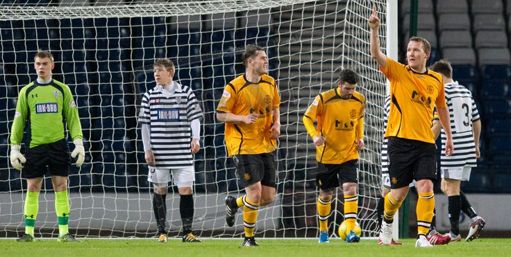 Annan Athletic's Peter Weatherston acknowledges his second goal during the SPFL League Two game between Queen's Park and Annan Athletic.
