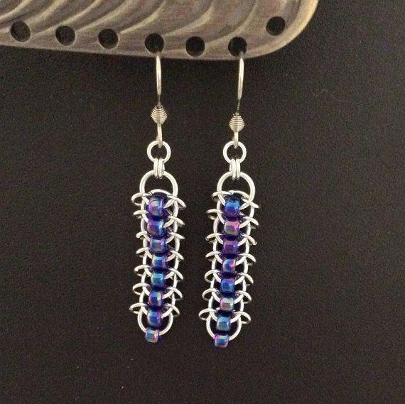 Centipede weave earrings in silver with Toho by DragonTearDesigns