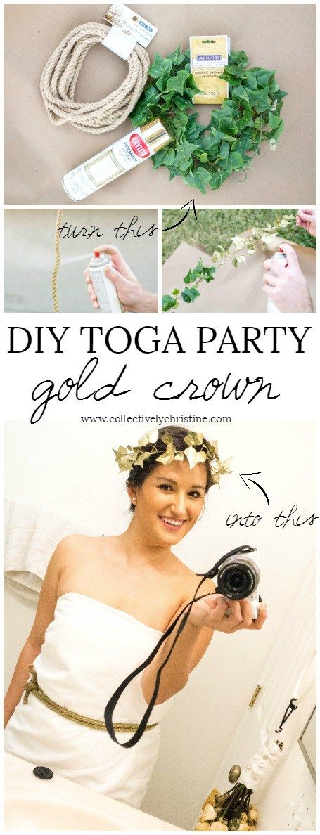 Easy DIY toga party gold crown.