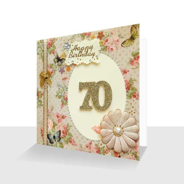 70th Birthday Card : Shabby Chic Hand Finished, Unique Greeting Cards Online, Buy Luxury Handmade Cards, Unusual Cute Birthday Cards and Quality Christmas Cards
