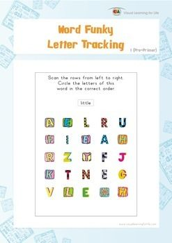 """Visual tracking skills are especially important for reading. In the """"Word Funky Letter Tracking"""" worksheets, the student must scan the rows and look for the letters of the word that is highlighted at the top of the page.  Available at www.visuallearningforlife.com on the Visual Perceptual Sight Words Builder 1 CD."""