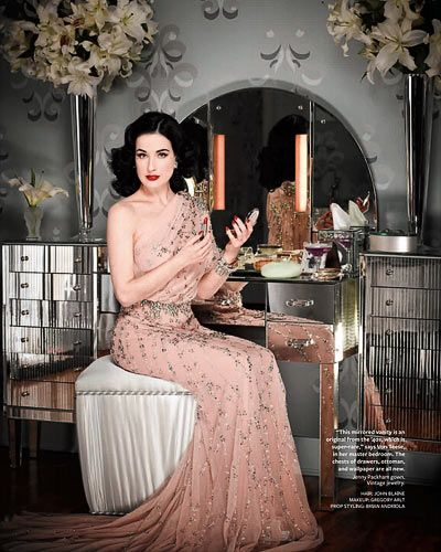 Dita Von Teese owns vintage lipstick tubes and refills them with her favorite color Russian red by MAC (my favorite too) She first puts the lipstick in the freezer then transfers them to the vintage tubes