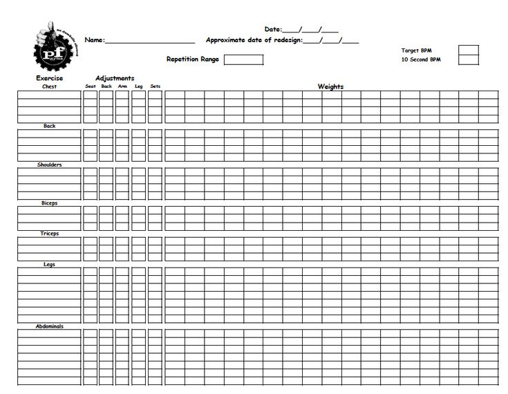 Printables Workout Worksheets 1000 images about gym on pinterest routine printable core training worksheet to record workouts from planet fitness