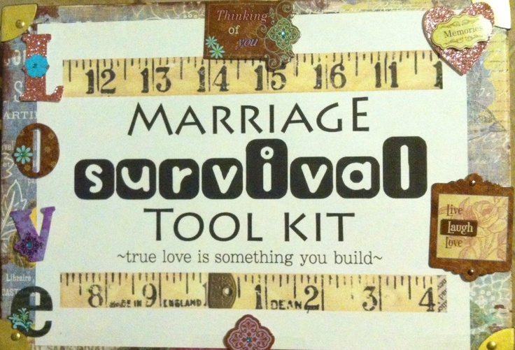 Marriage survival kit.... Box filled with Candy, cleaning agents, household items for the new couple.
