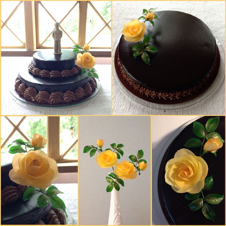 Chocolate cakes and yellow wafer paper roses
