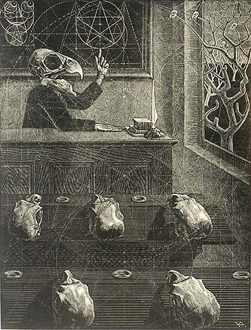 "Scherzo in Gold, Victor Delhez Wood engraving, 1948 via William P. Carl Fine Prints  This brilliant parody on the concept of the ""Golden Number"" depicts a professor with the skull of a parrot and five students. The print is constructed around several pentagrams."