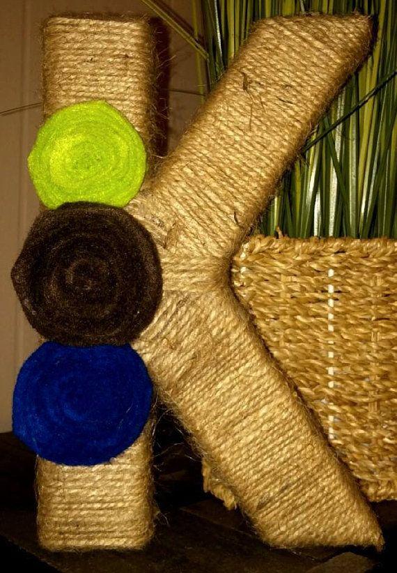 Twine Wrapped Felt Flower Initial by TheKiltedBear on Etsy