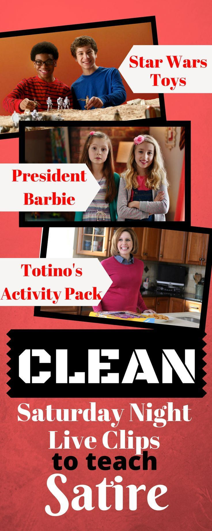 Includes free worksheet and links to three hilarious, but clean and appropriate, Saturday Night Live commercial parodies to teach satire to high school students.