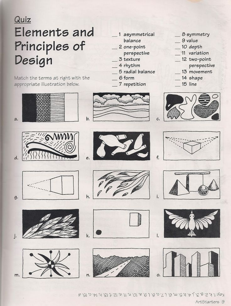 Ande Cook's Elements and Principles quiz from Art Starters.