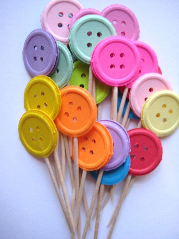 Decorations - 24 Buttons Party Picks Cupcake Toppers by ThePrettyPaperShop, $3.99