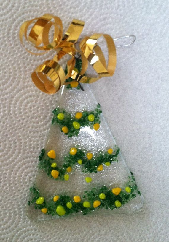 Fused glass Christmas tree ornaments by PatsGlass on Etsy