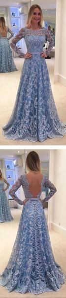 2017 Lace Long Sleeves A-line Formal Party Cocktail Evening Long Prom Dresses Online,PD0182
