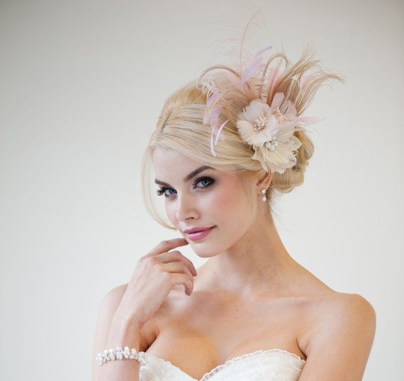 Bridal Fascinator Fascinator Ivory Gold Pink by PowderBlueBijoux, $129.00
