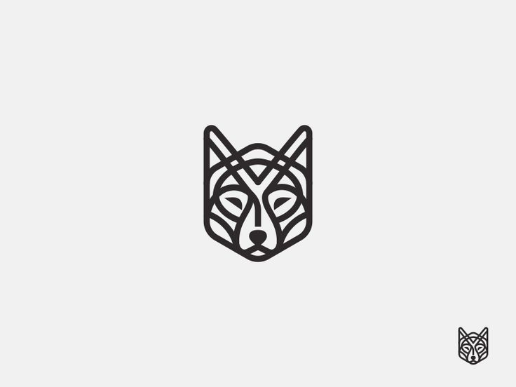 Line Wolf - vector drawing