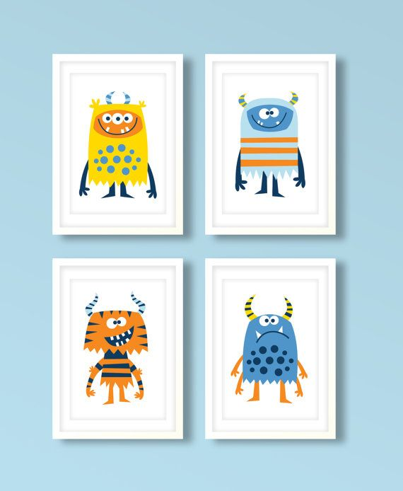 Nursery art boy, boys monster print set, monster art,monster nursery prints, boys bedroom, kids room, blue room
