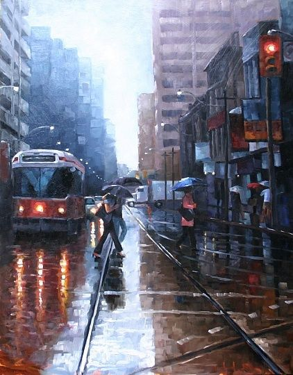 Rainy day watercolour in Toronto
