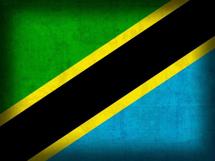 Tanzania Flag Distressed Vintage Finish Mixed Media