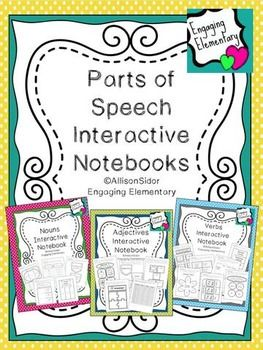 Interactive Notebook Pages for teaching nouns, verbs, and adjectives