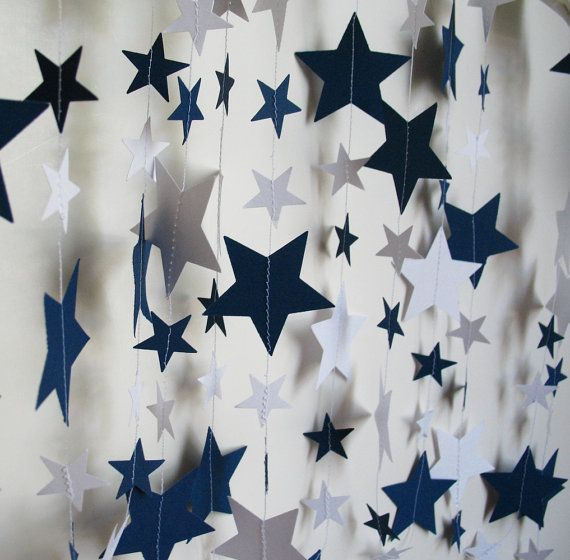 Paper Garland 14ft Navy and White Stars by polkadotshop on Etsy, $14.50. (We'd need silver and green)