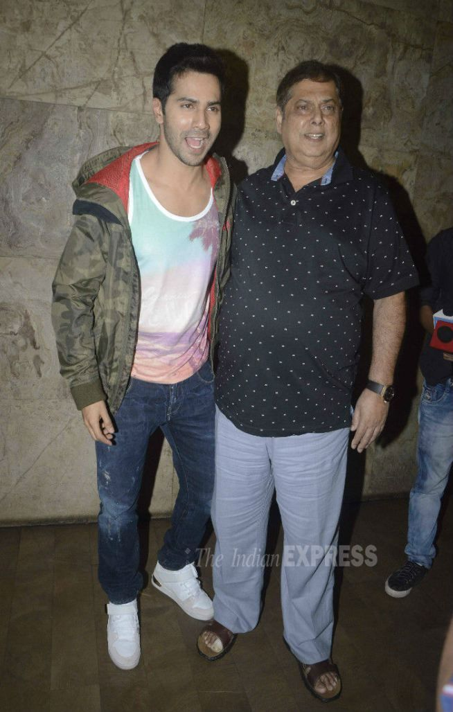 Varun Dhawan with father David Dhawan at 'Dil Dhadakne Do' screening. #Bollywood #Fashion #Style #DilDhadakneDo #Handsome