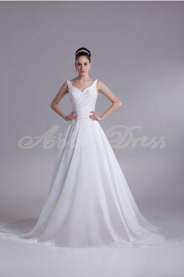 Princess Off-shoulder Sweetheart Backless Pleat Cathedral Train Taffeta Wedding Dress- Abbydress.com
