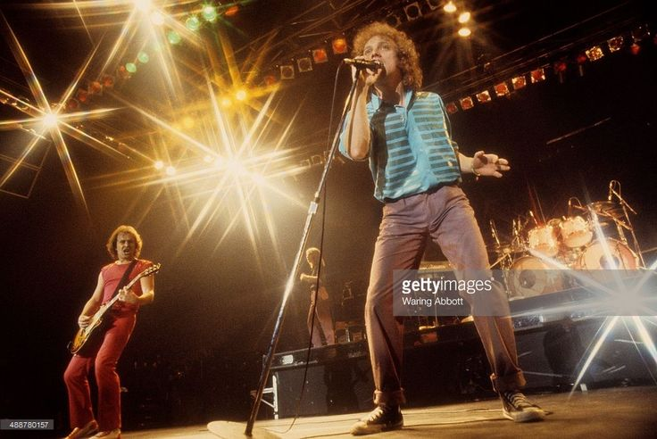 British guitarist Mick Jones, American keyboardist Al Greenwood and American vocalist Lou Gramm of the British-American rock group Foreigner performing live at New Haven Veteran's Coliseum on January 1, 1979 in New Haven, Connecticut.