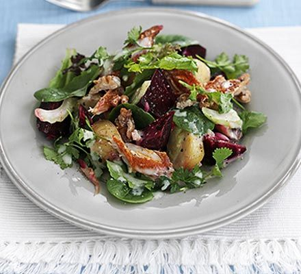 Warm mackerel & beetroot salad-  A simple but flavoursome salad that's easily made for two or more people
