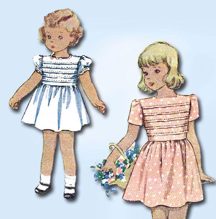 1940s Vintage McCall Sewing Pattern 6703 Toddler Girls Tucked Dress Size 4 23B #McCallPattern #DressPattern
