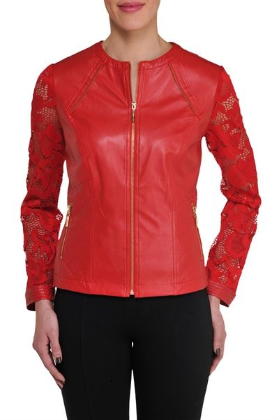 This motorcycle-inspired jacket is a blend of trend and femininity. The faux stretch leather gives this look an edge, while the detailed lace sleeves softens the look and gives it a delicate touch. The garment is accented by front zipper pockets.
