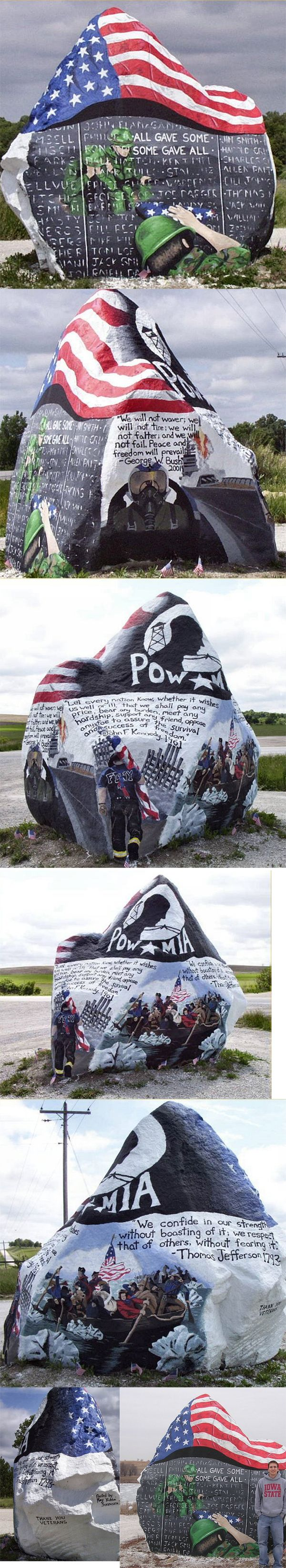 There  is a huge rock near a gravel pit  on Hwy 25 in rural  Iowa  ... For generations, kids have painted    slogans, names, and obscenities on this  rock, changing its character  many times.  A few months back, the rock received its latest paint job, and since  then  it has been left completely   undisturbed.    by Teenage artist Ray Sorenson.