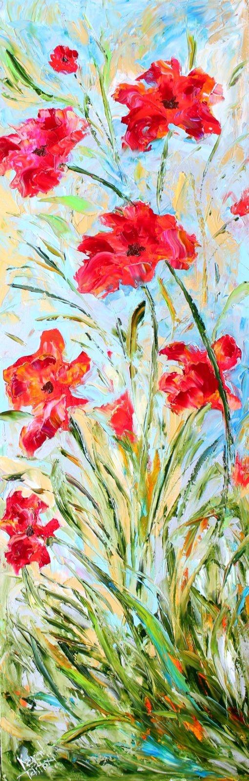 Landscape painting original oil Poppy Dance by Karensfineart
