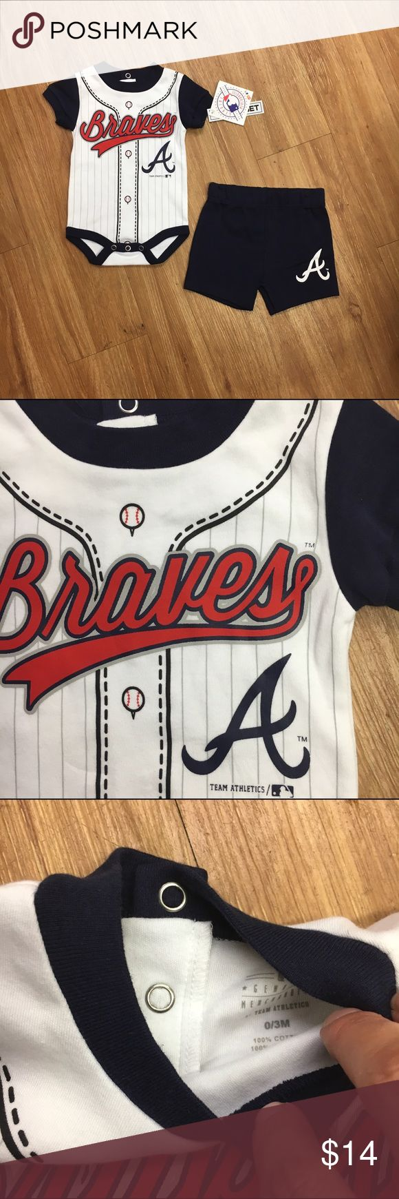 Atlanta Braves Outfit New NWT 3-6 Mo Bodysuit New, with tags.  Two piece Atlanta Braves set by Genuine Merchandise.  Bodysuit and elastic waist shorts.  Appears to run big.  #new #nwt #openingday #baseball #atlanta #atlantabraves #cobbbraves #mlb #boysofsummer Genuine Merchandise Matching Sets