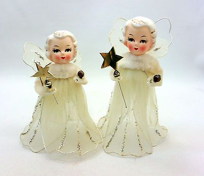 "Two Vintage 50""s MASCO Japan Chenille Pipe Cleaner and Tuille Angel Ornaments 