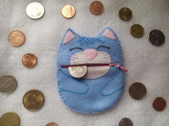 Felt Keychain Coin Pouch Keyring Purse Cat Coin Purse Blue
