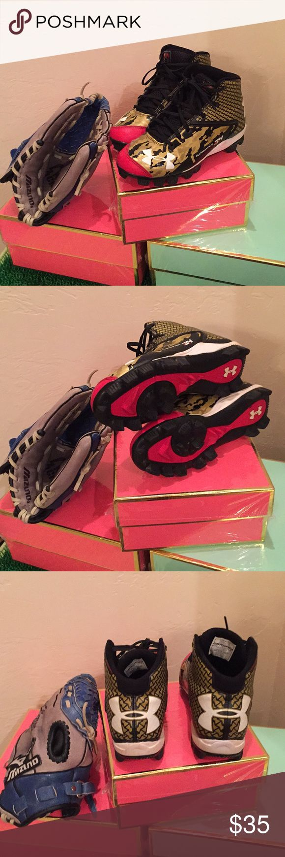 Youth Baseball Cleats and Glove Set My Grandson Watches Grandma Posh so he created a bundle of Under Armour Baseball Cleats 3.5Youth and a Mizuno Right Hand Glove.......play Ball Under Armour Shoes Sneakers