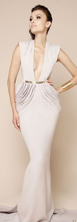 Deep cleavage on this gorgeous Dina Jsr white evening gown | Just a pretty dress